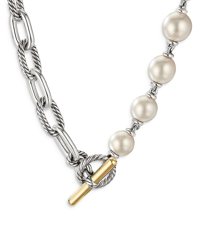"""David Yurman - 18K Yellow Gold & Sterling Silver DY Madison® Cultured South Sea White Pearl Toggle Necklace, 18"""""""