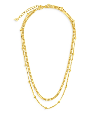 Sterling Forever Double Layer Beaded Chain Necklace, 16