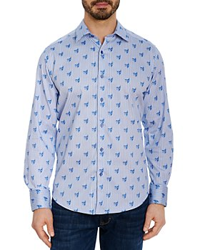 Robert Graham - Hockney Cotton Stretch Skull Print Pinstripe Classic Fit Button Down Shirt