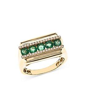 Bloomingdale's - Emerald & Diamond Men's Ring in 14K Yellow Gold - 100% Exclusive