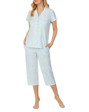 Cotton Lace Trim Capri Pajama Set