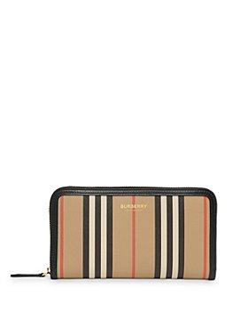 Burberry - Icon Stripe E-Canvas & Leather Zip-Around Wallet