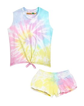 Vintage Havana - Girls' Tie Dye Fleece Shorts & Tank- Little Kid, Big Kid