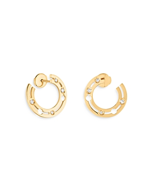 18K Yellow Gold Pulse Hoop Earrings with Diamonds