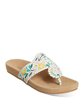Jack Rogers - Women's Lemon Print Leather Thong Sandals