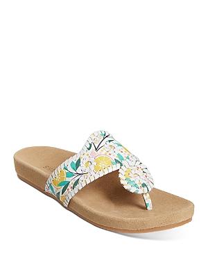 Women's Lemon Print Leather Thong Sandals