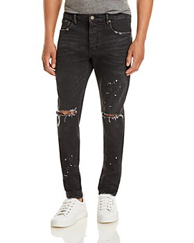 Purple Brand - P001-BOS Slim Fit Jeans in Black Over Spray