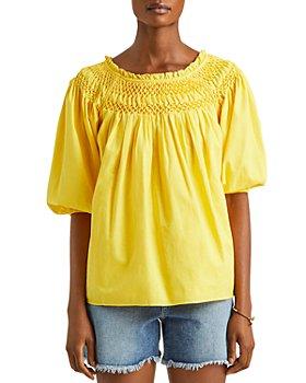 Ralph Lauren - Smocked Blouson Sleeve Top