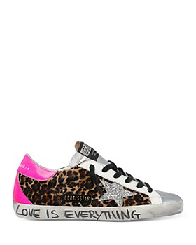 Golden Goose Deluxe Brand - Women's Super-Star Leopard Print Calf Hair Glitter Grafitti Low Top Sneakers