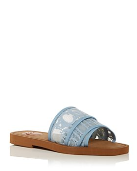 Chloé - Women's Woody Square Toe Lace Logo Slide Sandals