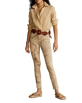 Ralph Lauren - Tompkins High Rise Skinny Ankle Jeans in Tan Map