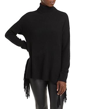 Fringe Cashmere Turtleneck Sweater