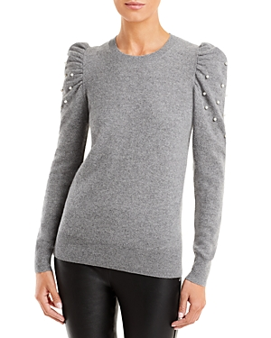 Faux Pearl Puff Sleeve Cashmere Sweater