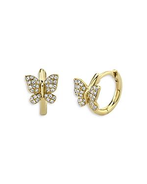 Moon & Meadow Diamond Butterfly Huggie Hoop Earrings in 14K Yellow Gold, 0.14 ct. t.w. - 100% Exclus