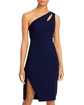AQUA - Crepe One Shoulder Keyhole Dress - 100% Exclusive