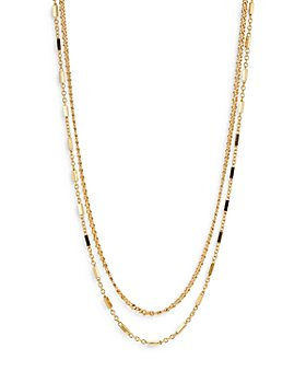 """Nadri - Wythe Double Chain Necklace in 18K Gold Plate, 16""""-18"""""""