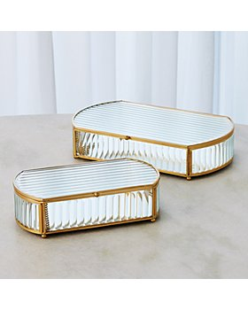 Global Views - Reeded Glass Oval Box Collection