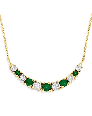Bloomingdale's Emerald & Diamond Curved Bar Necklace in 14K Yellow Gold, 18 - 100% Exclusive
