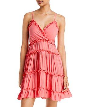 AQUA - V-Neck Ruffle Trim Tiered Dress - 100% Exclusive
