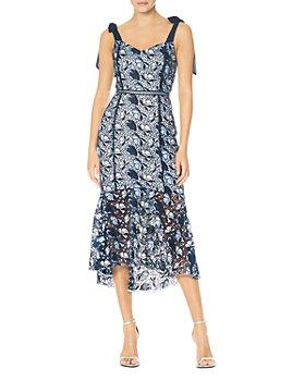 ML Monique Lhuillier - Floral Lace Midi Dress