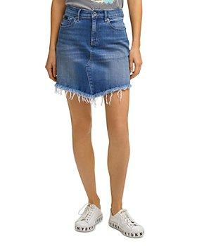 DKNY - Distressed Asymmetrical Denim Skirt in Medium Blue Wash