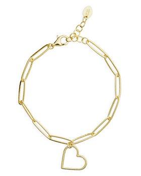 Argento Vivo - Heart Charm Link Bracelet in 14K Gold Plated Sterling Silver