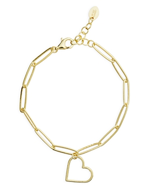 Heart Charm Link Bracelet in 14K Gold Plated Sterling Silver