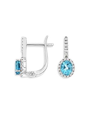 Bloomingdale's Blue Topaz & Diamond Oval Drop Earrings in 14K White Gold- 100% Exclusive