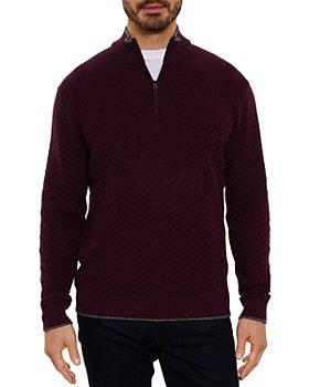 Robert Graham - Hervey Cotton Basketweave Knit Classic Fit Quarter Zip Mock Neck Sweater