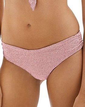Jonathan Simkhai - Jules Metallic Side Ruched Bikini Bottoms
