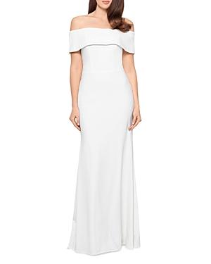 Off-the-Shoulder Scuba Crepe Gown