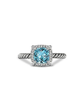 David Yurman - Sterling Silver Petite Chatelaine® Ring with Blue Topaz & Diamonds - 100% Exclusive