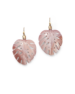 18K Yellow Gold Pink Mother of Pearl Palm Leaf Drop Earrings