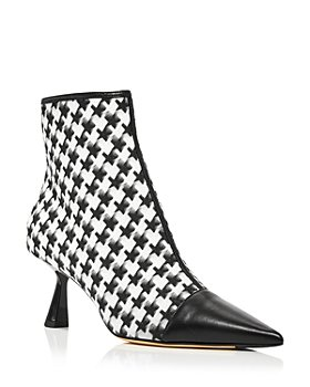 Jimmy Choo - Women's Kix/Z 65 Pointed Toe Star Houndstooth Print Mid Heel Booties