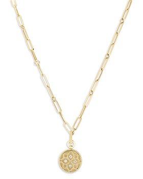 """Roberto Coin - 18K Yellow Gold Venetian Princess Diamond Floral Disc Pendant Necklace, 19"""""""