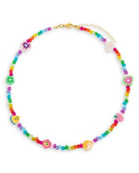 """Adinas Jewels - Neon Multicolor Charm & Bead Collar Necklace in Gold Tone, 16""""-18"""""""