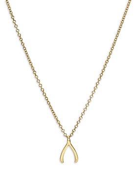 "Zoe Lev - 14K Yellow Gold Wishbone Pendant Necklace, 16-18"""