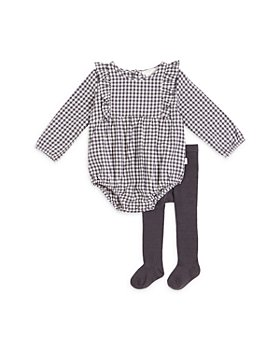 FIRSTS by petit lem - Girls' Gingham Bodysuit & Ribbed Tights Set - Baby