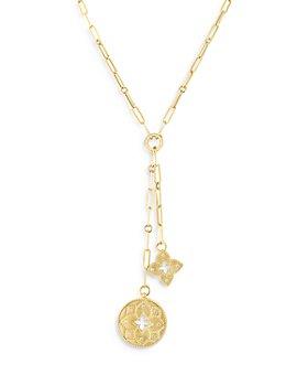 "Roberto Coin - 18K Yellow Gold Venetian Princess Diamond Flower & Open Disc Pendant Y Necklace, 15"""