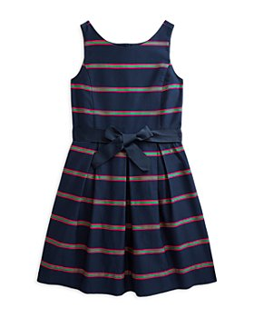 Ralph Lauren - Girls' Striped Fit And Flare Dress - Little Kid, Big Kid