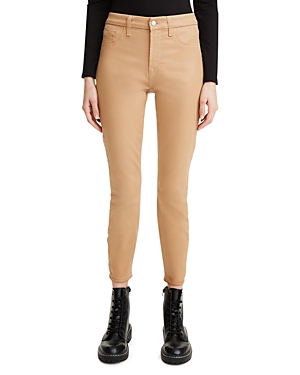 Coated Skinny Ankle Jeans in Chocolate Dot