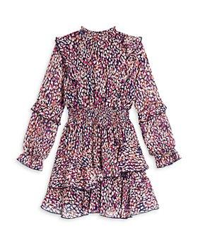 AQUA - Girls' Long Sleeve Ruffle Dress, Big Kid