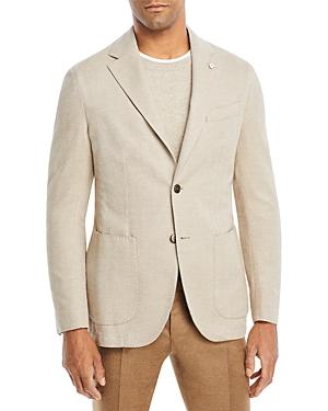 Garment Washed Herringbone Slim Fit Sport Coat