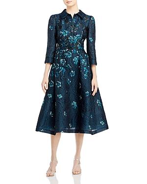 Teri Jon by Rickie Freeman Floral Jacquard Shirt Dress