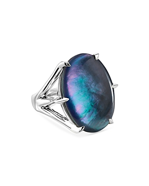 Ippolita Sterling Silver Rock Candy Hematite & Rock Crystal Doublet Statement Ring