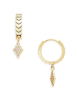 Pave Diamond Shape Charm Chevron Huggie Hoop Earrings in 14K Gold Plated Sterling Silver