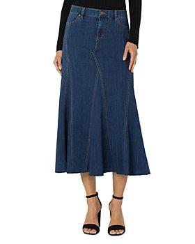 Liverpool Los Angeles - Paneled Denim Midi Skirt