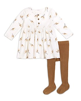 FIRSTS by petit lem - Girls' 2 Pc. Printed Dress & Footed Tights Set - Baby