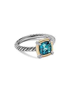 David Yurman - 18K Yellow Gold & Sterling Silver Petite Chatelaine® Hampton Blue Topaz & Diamond Bezel Ring