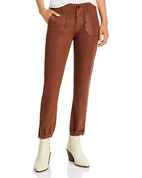 PAIGE - Mayslie Jogger Jeans in Cognac Luxe Coated